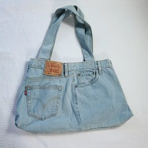 Repurposed Levi's Light Wash Denim Handbag (E7)